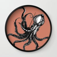 squid Wall Clocks featuring Squid  by Aubree Eisenwinter
