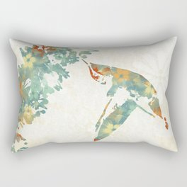 Colorful Teal Hummingbird Art Rectangular Pillow