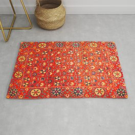 Boho Orange Oriental Traditional Moroccan Style Illustration  Rug