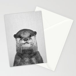 Otter - Black & White Stationery Cards