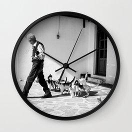 Greek Man Calls Cats (Square) Wall Clock