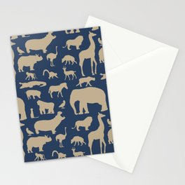 African Fauna // Khaki & Navy Stationery Cards