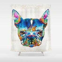 Colorful French Bulldog Dog Art By Sharon Cummings Shower Curtain