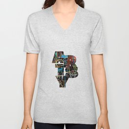 A bold artsy lettering filled with a Basquiat style background. Unisex V-Neck