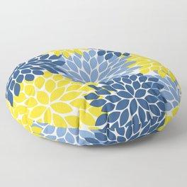 Blue Yellow Flower Burst Floral Pattern Floor Pillow