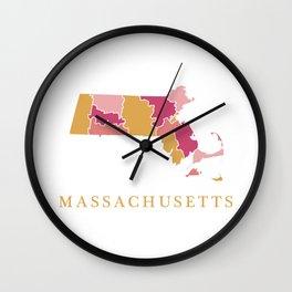 Massachusetts map Wall Clock