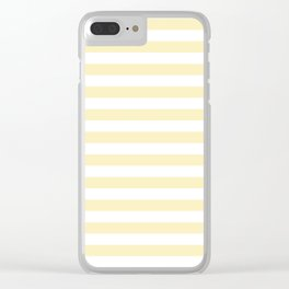 Narrow Horizontal Stripes - White and Blond Yellow Clear iPhone Case