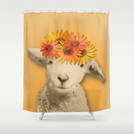 Daisies Sheep Girl Portrait, Mustard Yellow Texturized Background Shower Curtain