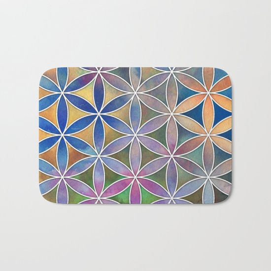 The Flower of Life in the Sky Bath Mat