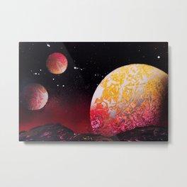 Rising Red Blood Moon against Desert Planet Metal Print