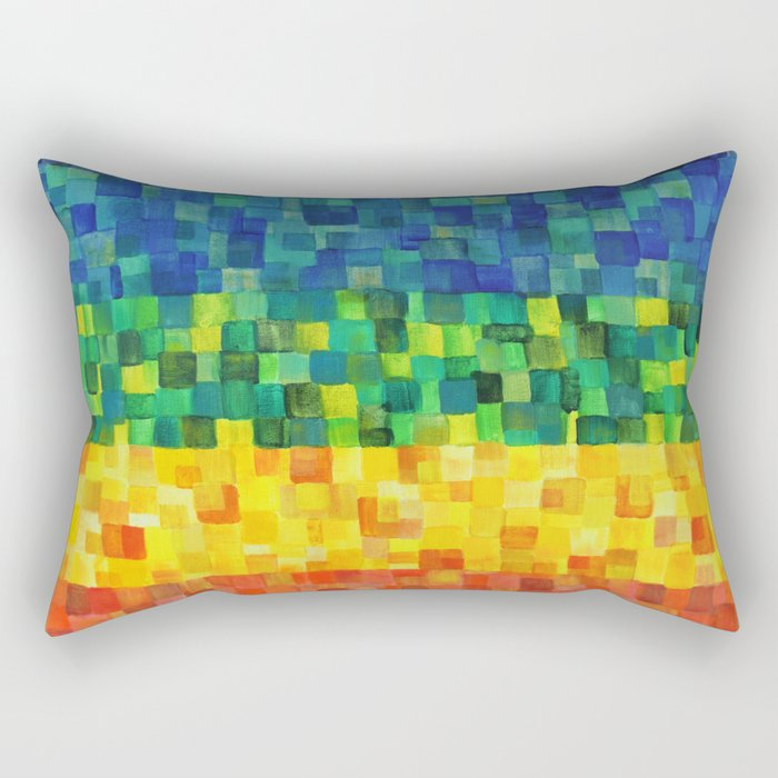 Chakra Rainbow Tiles Rectangular Pillow