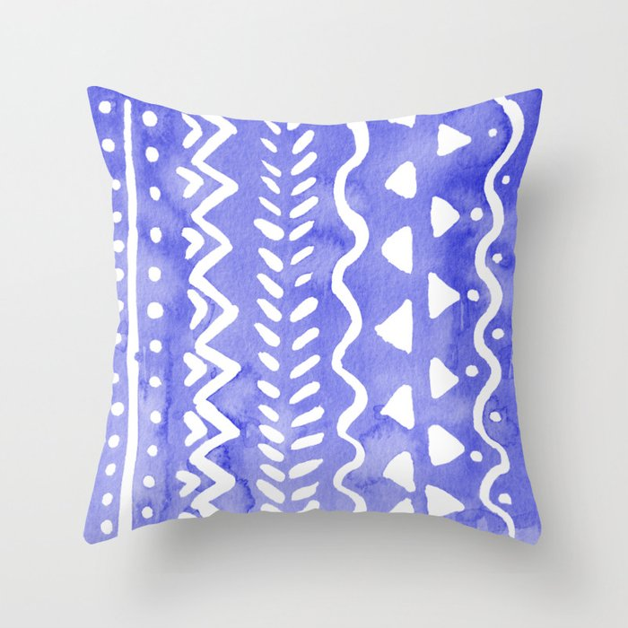 Boho Style Throw Pillows : Loose boho chic pattern - ultramarine blue Throw Pillow by wackapacka Society6