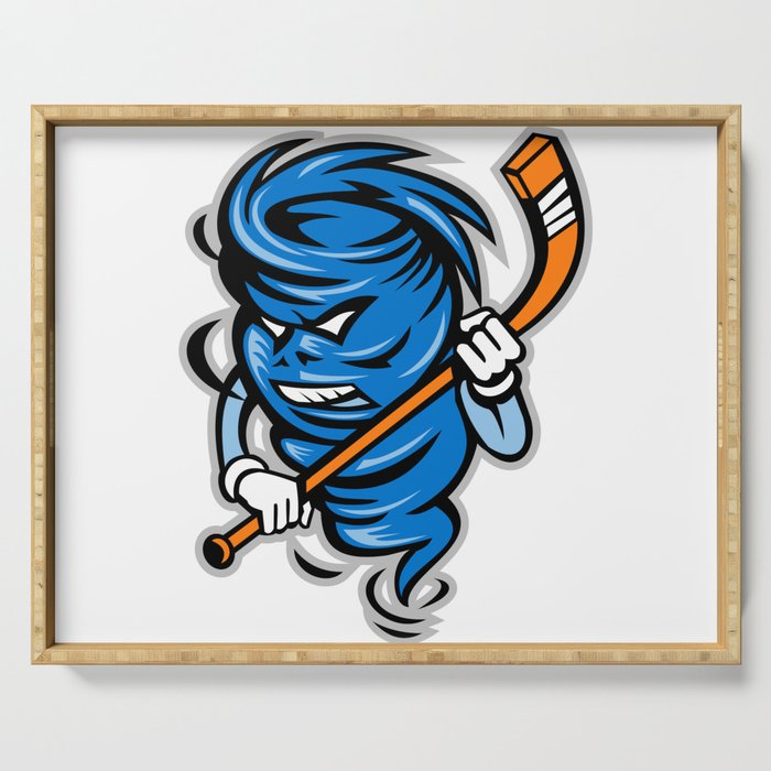 Tornado Ice Hockey Player Mascot Serving Tray