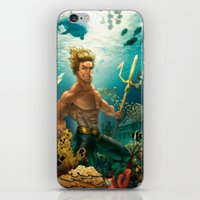 aquaman iPhone & iPod Skins featuring Aquaman Black Lagoon (Dark Water Version)  by Brian Hollins art