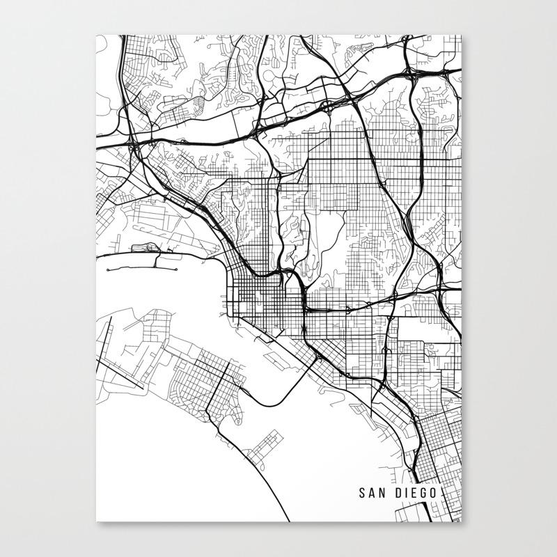 San go Map, California USA - Black & White Portrait Canvas Print California On Usa Map on california on world map, california on map of north america, california counties map, california cities map, california maps with it on, california on europe map,