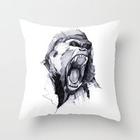 power Throw Pillows featuring Wild Rage by Philipp Zurmöhle