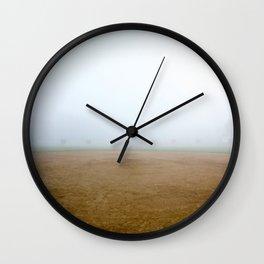 Baseball Field on a Foggy Morning Wall Clock