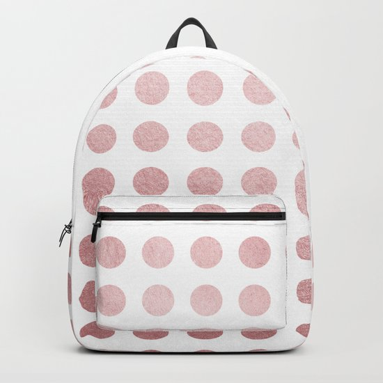 Simply Polka Dots in Rose Gold Sunset and White Backpack