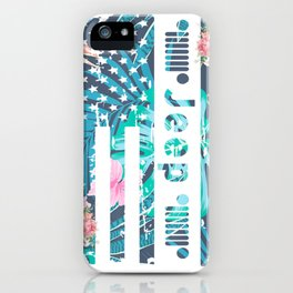 Beautiful Summer Tropical Flowers USA Flag Jeeps T Shirt iPhone Case