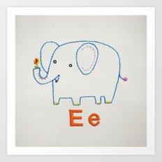 E Elephant Art Print
