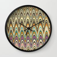 swag Wall Clocks featuring Swag stripe by Shelly Bremmer