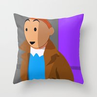 tintin Throw Pillows featuring Tintin, the young reporter by DocPastor
