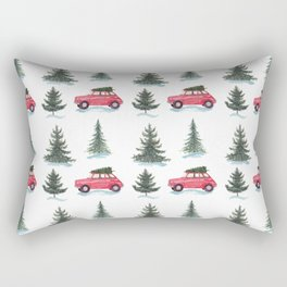 Red car and christmas tree in forest Rectangular Pillow