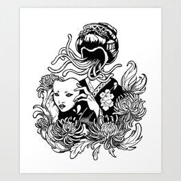 Kabuki Krysanthemums Art Print