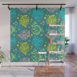 Fishes Batik Style Seamless Pattern Wall Mural