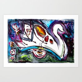 Intergalactic Swan Art Print