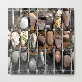 Pebbles In A Grid Metal Print