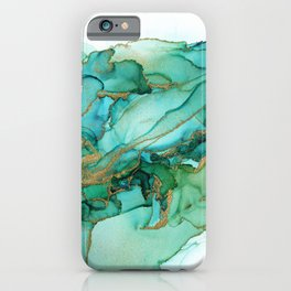 Emerald Gold Waves Abstract Ink iPhone Case