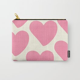 Pink Hearts on Pale Yellow Carry-All Pouch