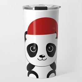 Christmas Panda in Santa Hat Travel Mug