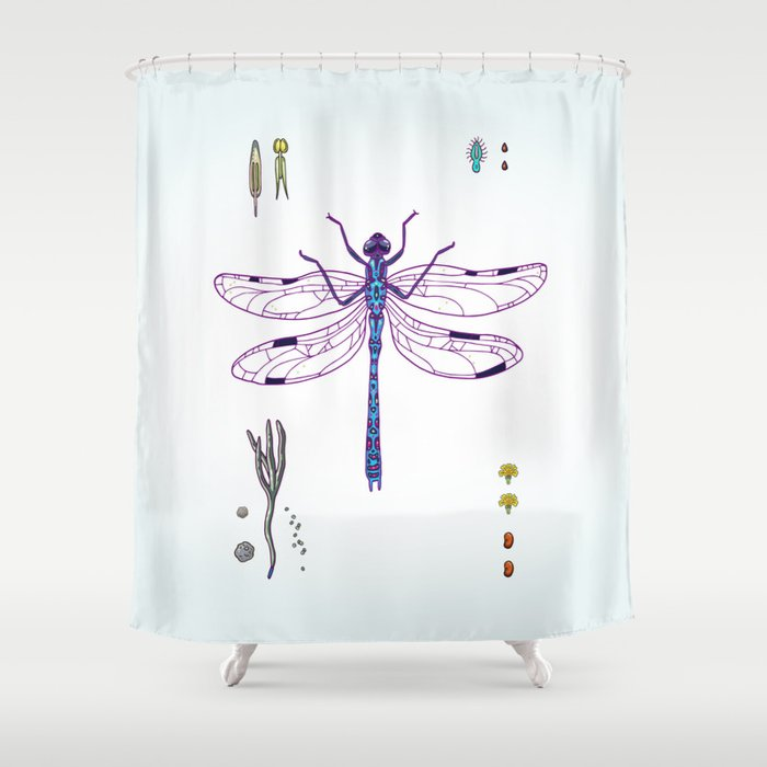 Happy Dragonfly Shower Curtain By Smalldrawing