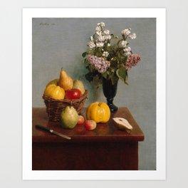 Henri Fantin-Latour - Still Life with Flowers and Fruit (1866) Art Print