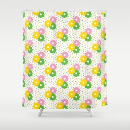 60s Ditsy Daisies + Dots Shower Curtain