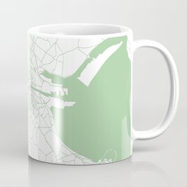 White on Green Dublin Street Map Coffee Mug