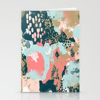 college Stationery Cards featuring Eisley - Modern fresh abstract painting in bright colors perfect for trendy girls decor college by CharlotteWinter