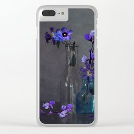 Darkness Falls on Purple Blooms Clear iPhone Case