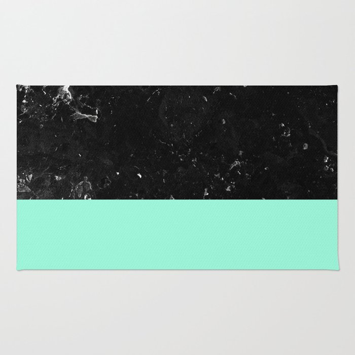 Mint Meets Black Marble #1 #decor #art #society6 Rug