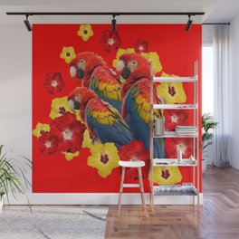 TROPICAL BLUE MACAWS & RED YELLOW HIBISCUS RED ART Wall Mural