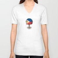 philippines V-neck T-shirts featuring Vintage Tree of Life with Flag of Philippines by Jeff Bartels