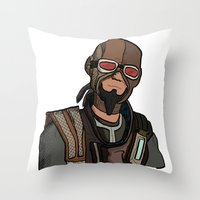 borderlands Throw Pillows featuring borderlands mordecai by  Steve Wade ( Swade)