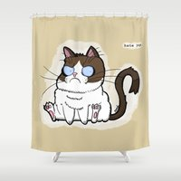 pugs Shower Curtains featuring Hate pugs by MAD HAT CARTOONS