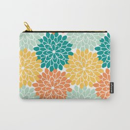 Petals in Orange, Mint, Apricot and Jade Carry-All Pouch