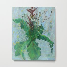Burdock leaves and autumn herbs Metal Print