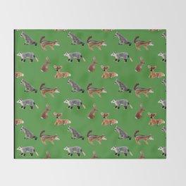 Backyard Critters in Green Throw Blanket