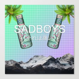 SADBOYS // YUNG LEAN AESTHETIC POSTER FT. GREEN TEA AND PALM TREES Canvas Print