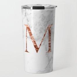 Monogram rose gold marble M Travel Mug